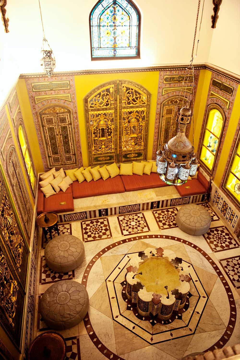 view looking down into room of Shangri La Turkish room