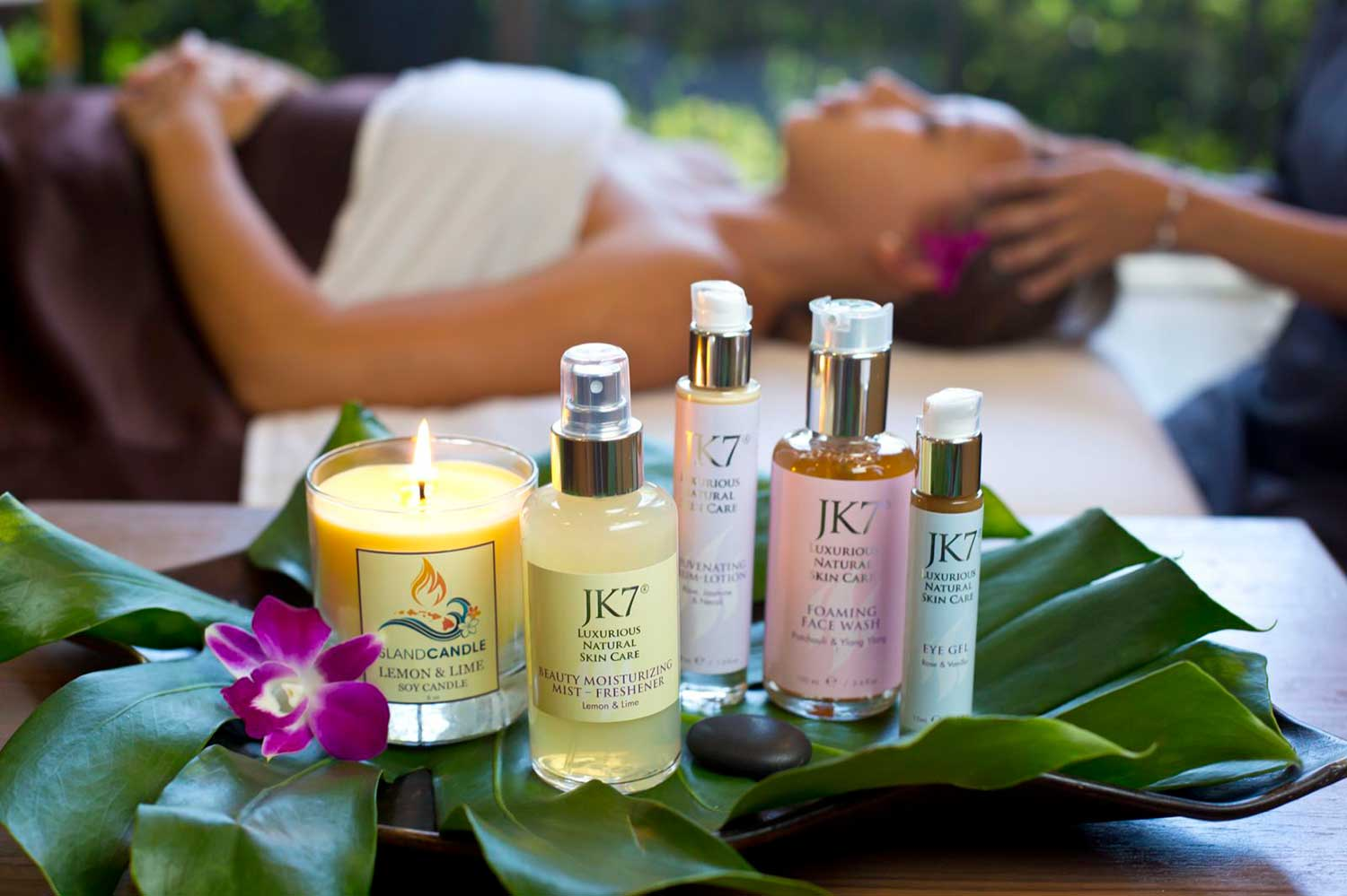 5 items from JK7: various lotions, candles, skincare