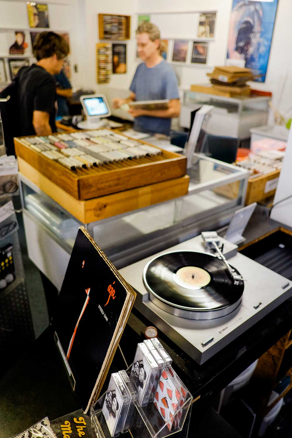 vintage record player inside record store