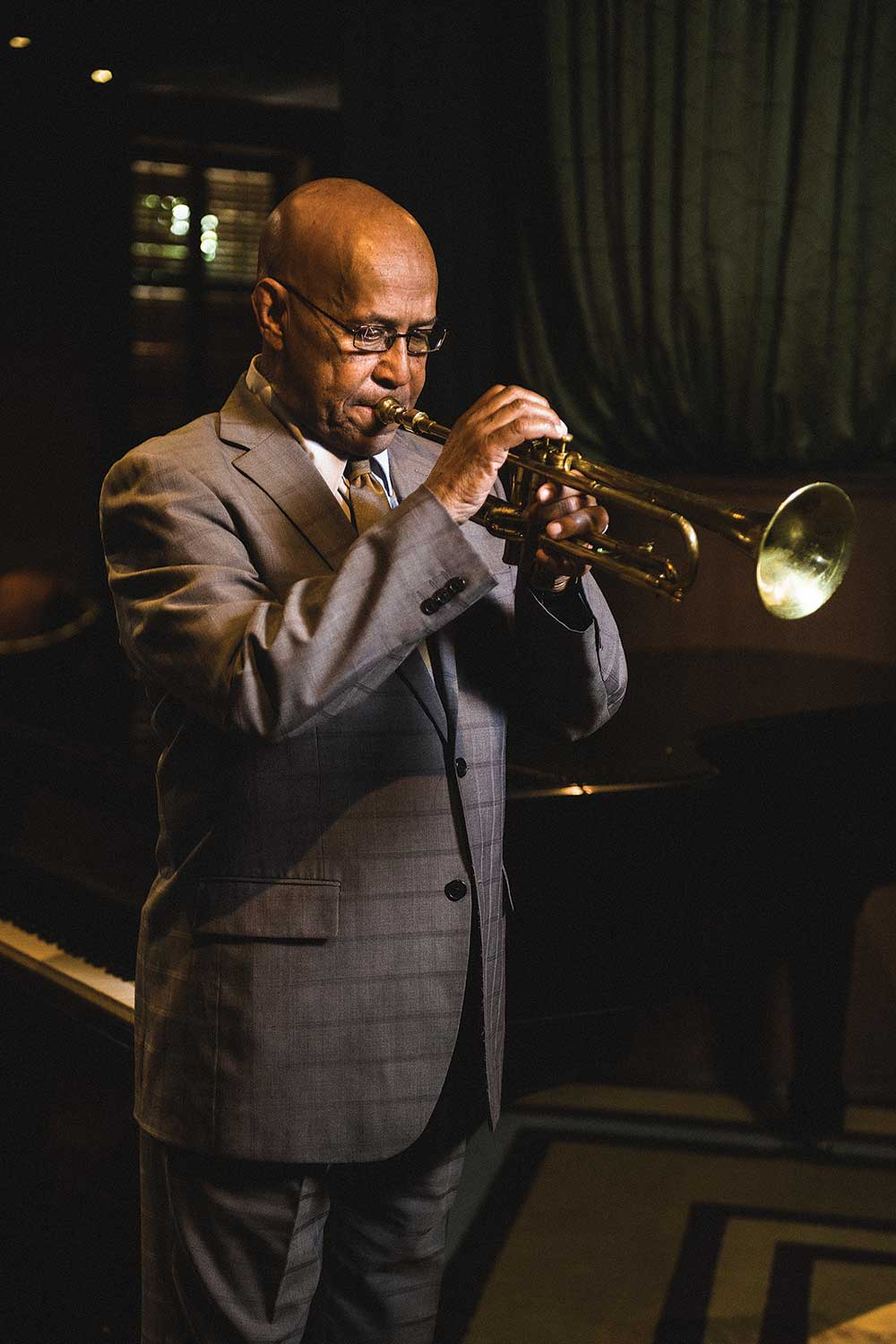 Musician Eddie Henderson playing the trumpet
