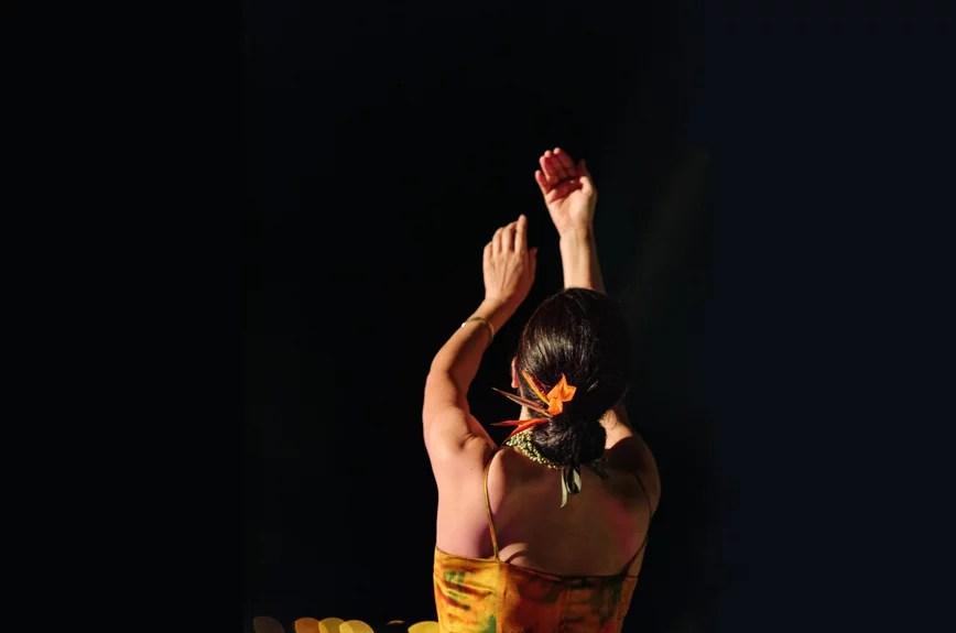Hula dancer against black background