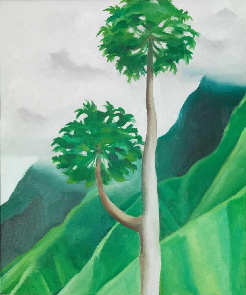 ジョージア・オキーフ(米国1887-1986)作の『ポウポウツリ ー、イアオ渓谷、マウイ島』1939年。
