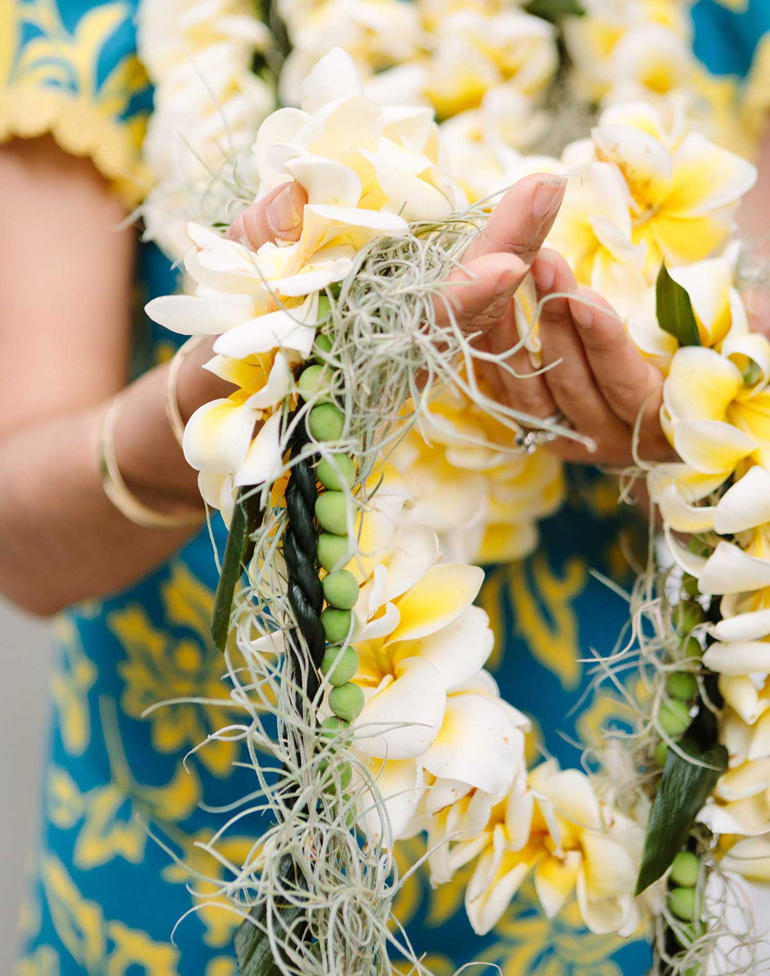 Plumeria lei intertwined with other leis