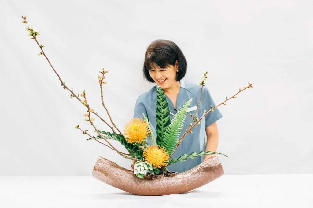 Irene Bacani and her ikebana arrangement