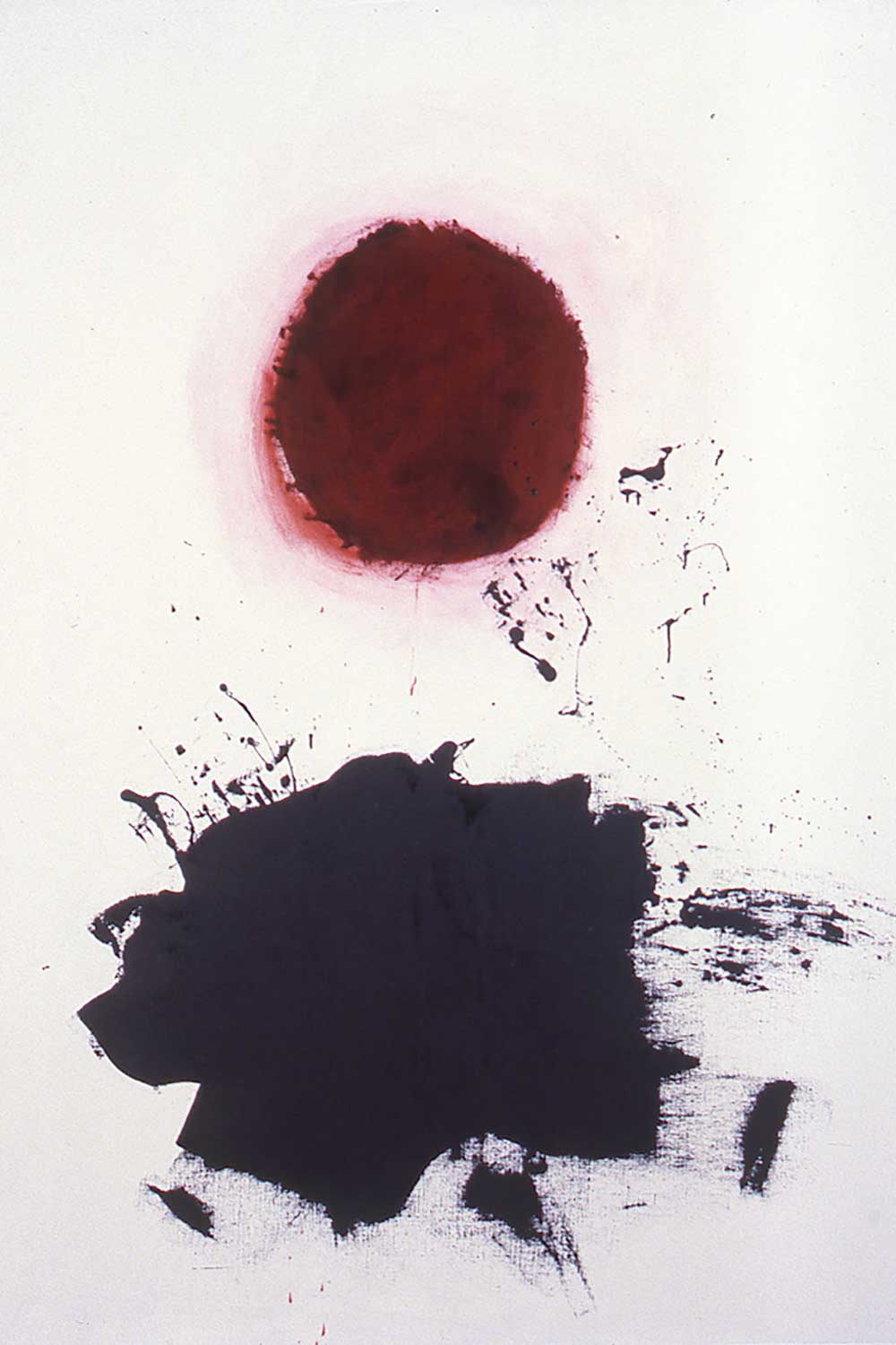 black and red Oil painting titled Edge by Gottlieb