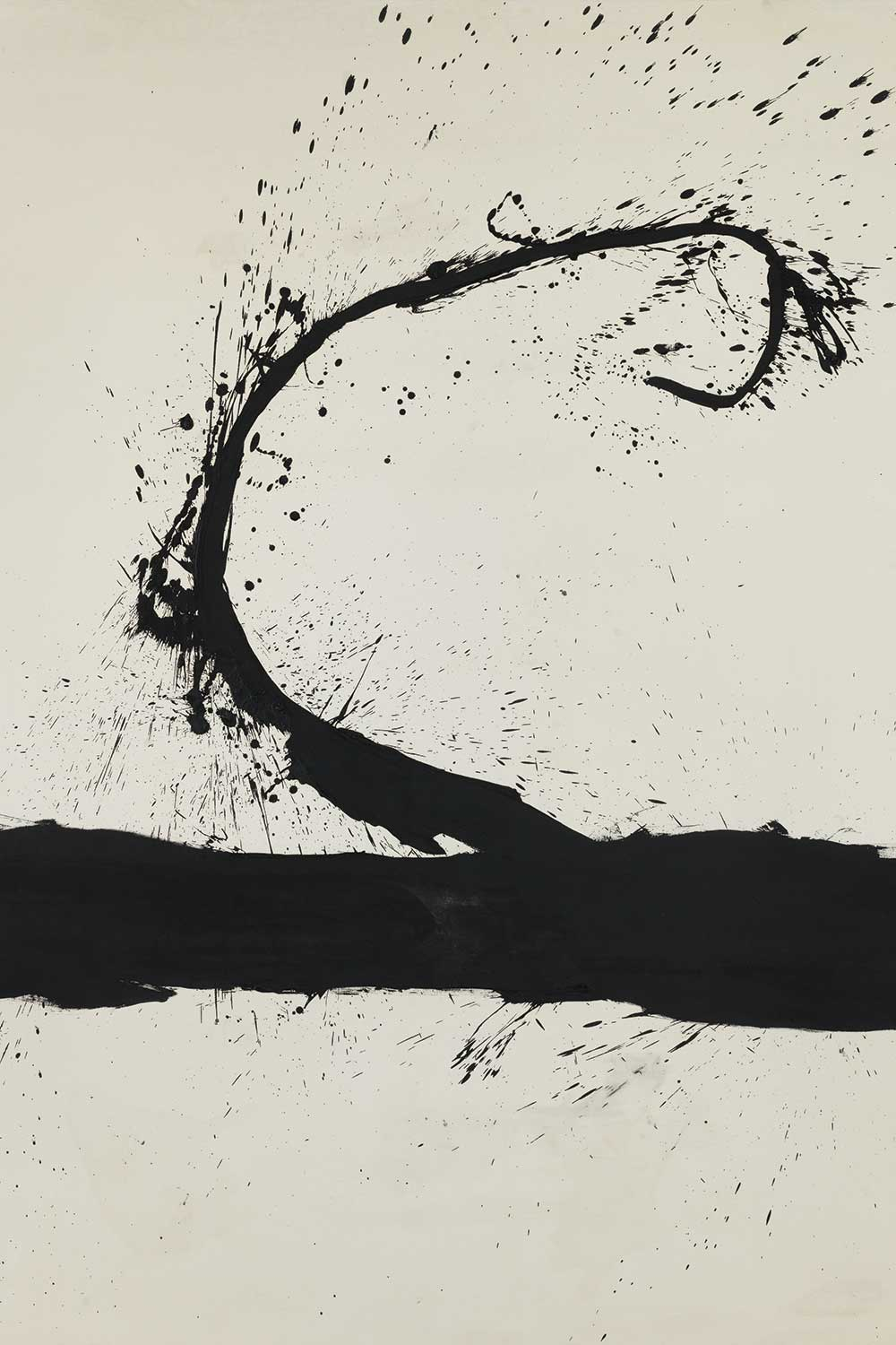 black abstract oil Untitled painting by Motherwell