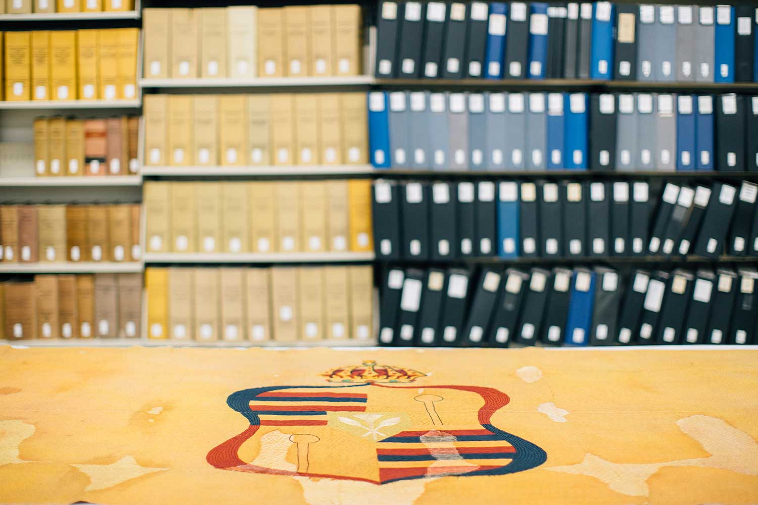 Shelves of archives with a Hawaiian crest in the foreground
