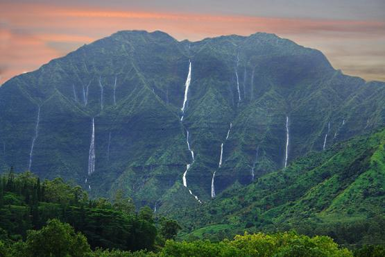 Try counting the Nāmolokama mountain waterfalls after a good rain in Hanaeli. Photo Source: Koa Kahili of Garden Island Chocolate.