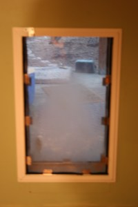 dirty pet door flap
