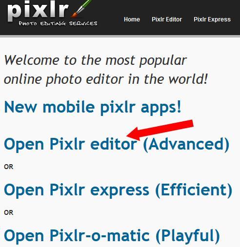 Pixlr.com - Main Screen