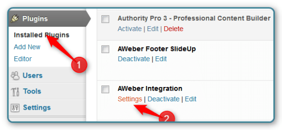 WordPress and AWeber Integration - Find Settings
