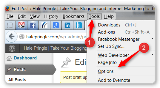 Firefox tips - options with menu bar turned on