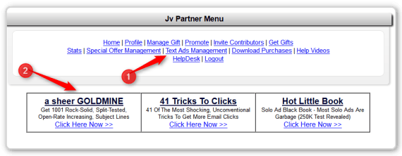 JV Giveaway menu-Text Ad Management