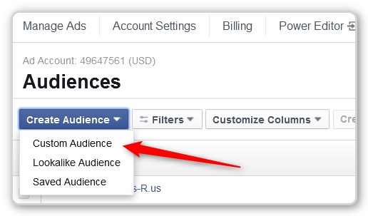 Facebook Custom AUdience Open Create Menu