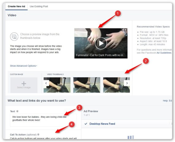 Facebook Video Ads - upload an image