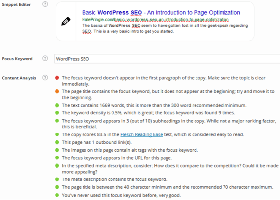 Wordpress SEO - Yoast SEO on my page
