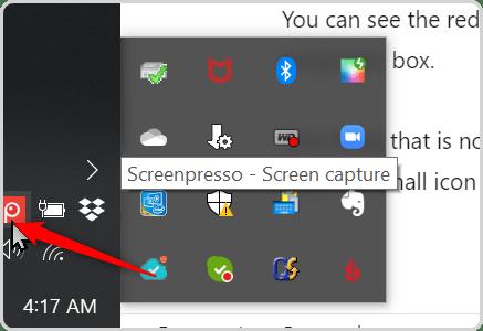 Screenpresso in the app tray