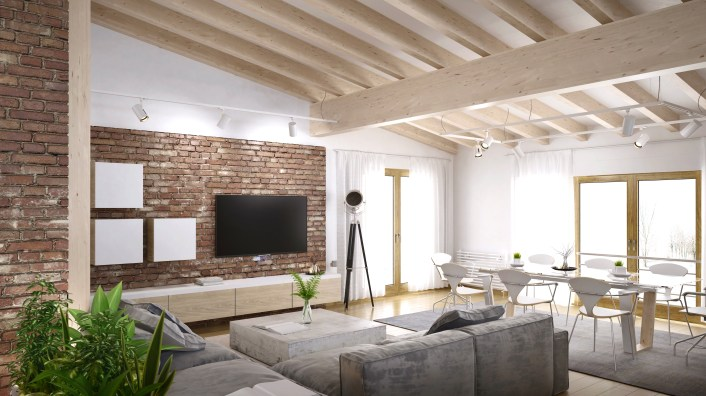 Large ceiling beams separate different functional spaces in a room