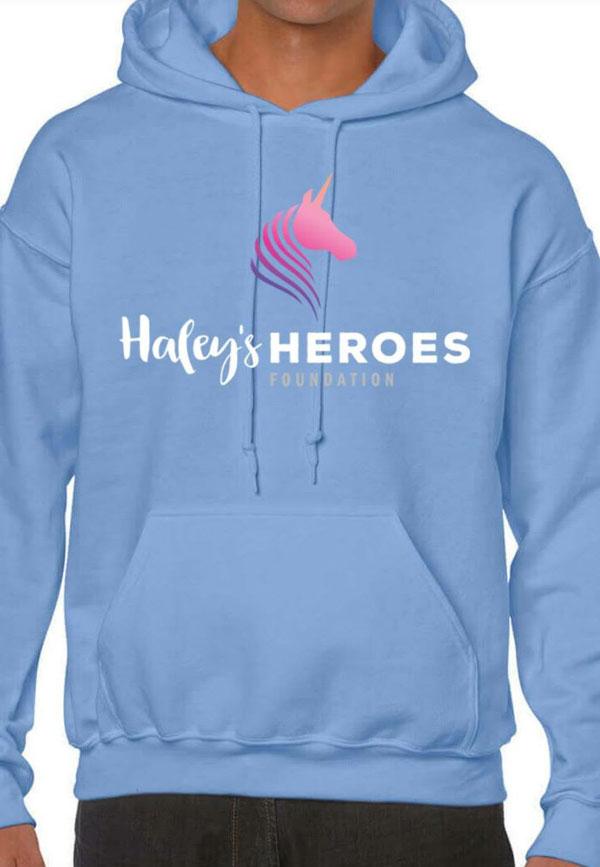 Haley's Heroes Foundation Hoodie in periwinkle