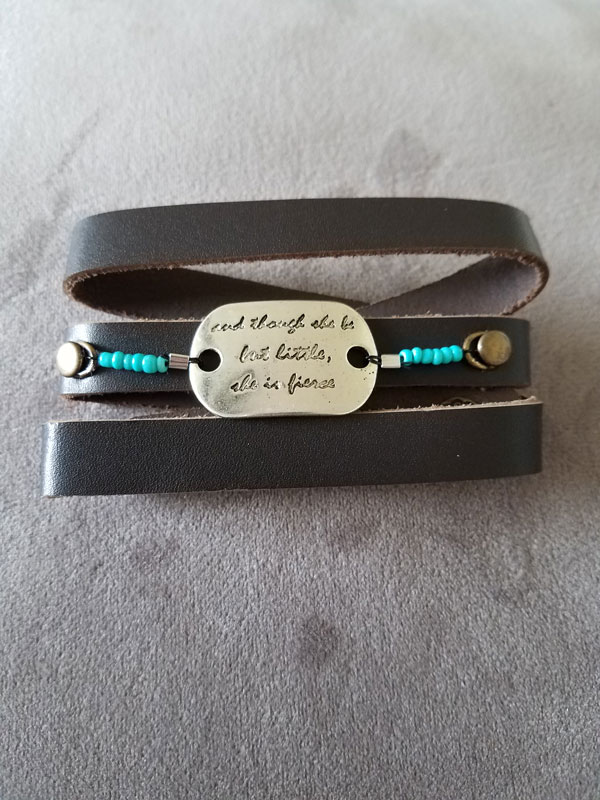 Brown Shakespeare Quote Wrap Bracelet