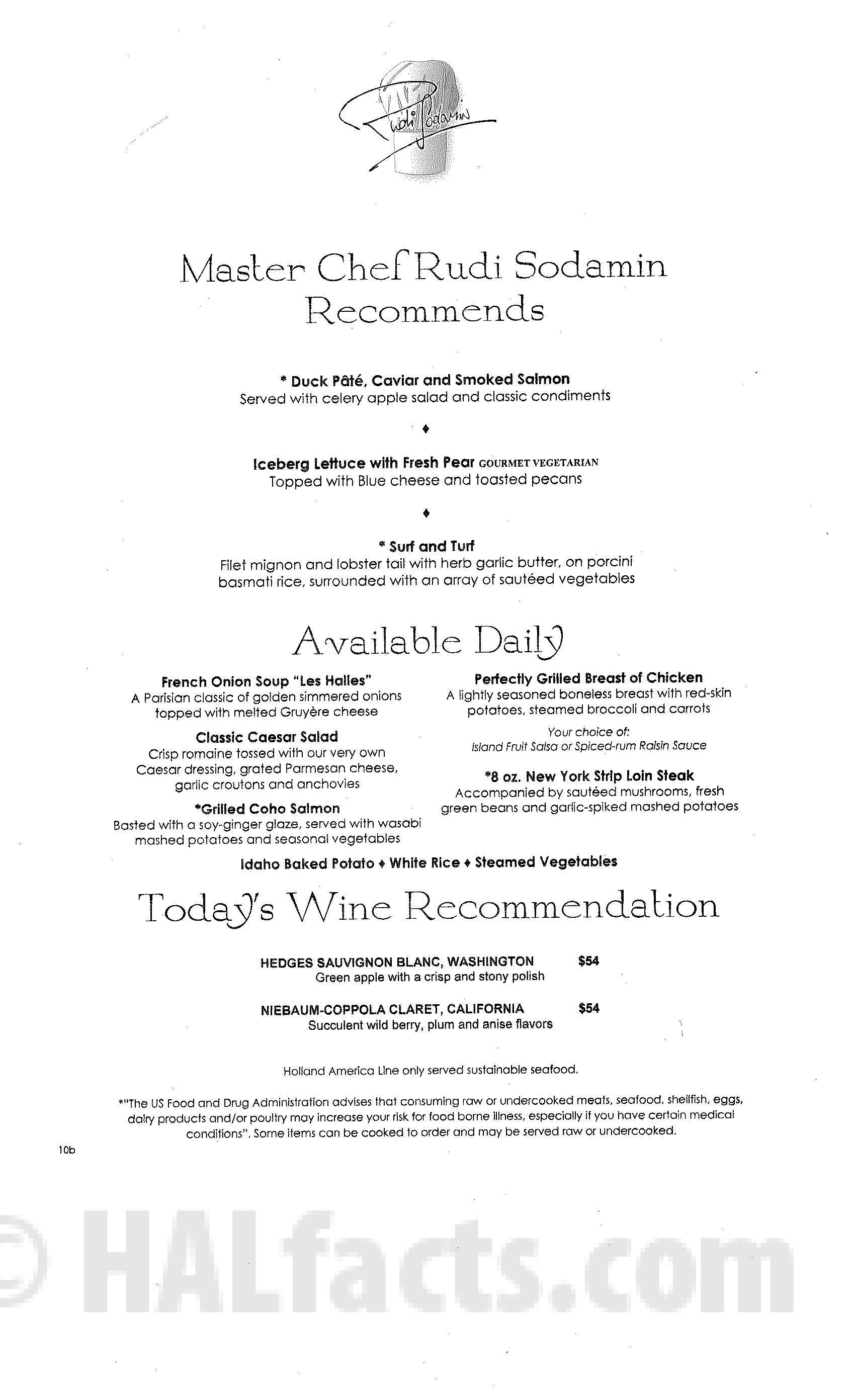 Main Dining Room Dinner Menus Zuiderdam December 2013