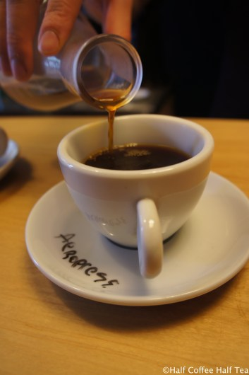 Pouring the coffee to the cup