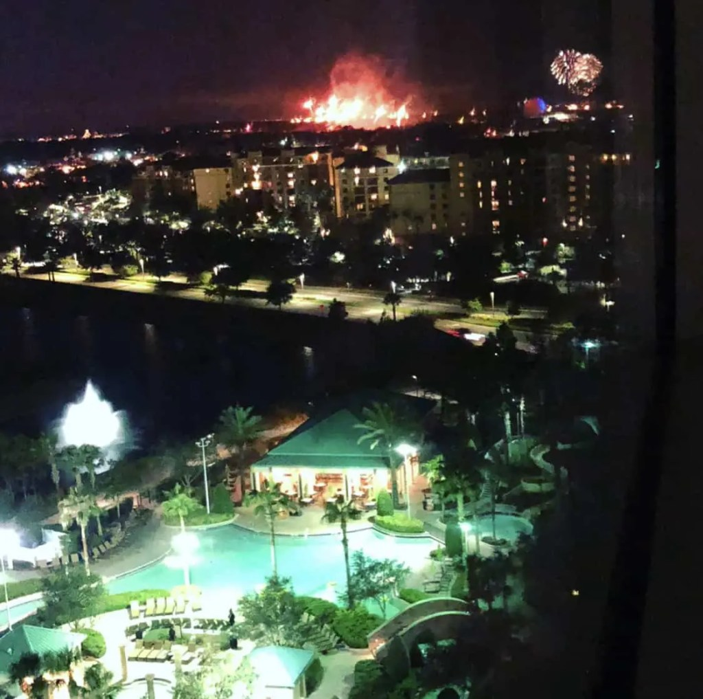 hotel room with view of Disney World Fireworks