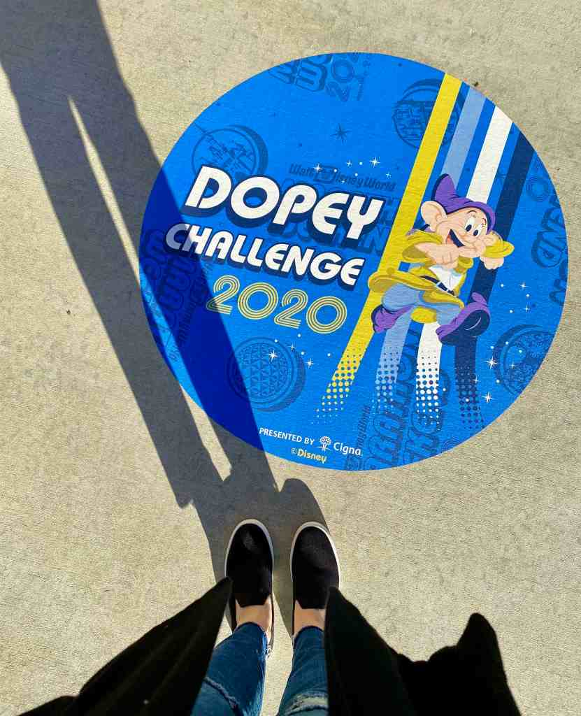 dopey challenge sticker on sidewalk
