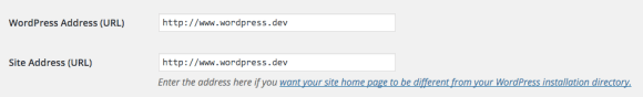 Your home and site URLs in WP