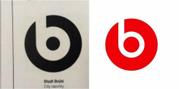 The Beats logo on the right compared to one found in the 1989 design book Tweeted by Spencer Chen.