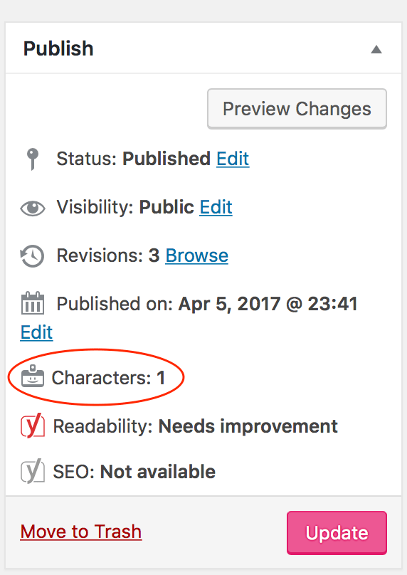 Character Count on the Publish metabox