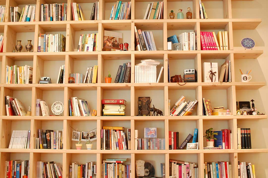 Books in a bookshelf