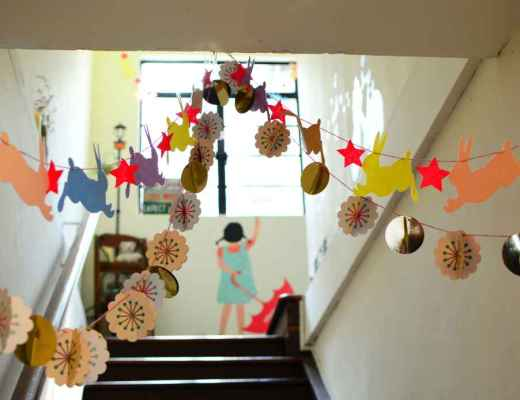 corridor in a school decorated with children's art
