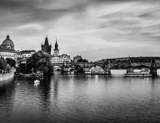 Black and white photo of Prague
