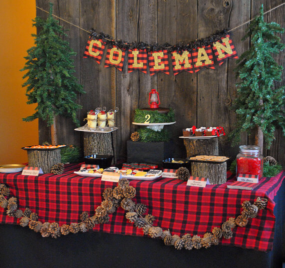 Top Party Trends for 2017. Trend 1: Still loving nature...fairy garden, lumberjack, camping, glamping, woodland, cactus. | Halfpint Design - Love the pinecone garland