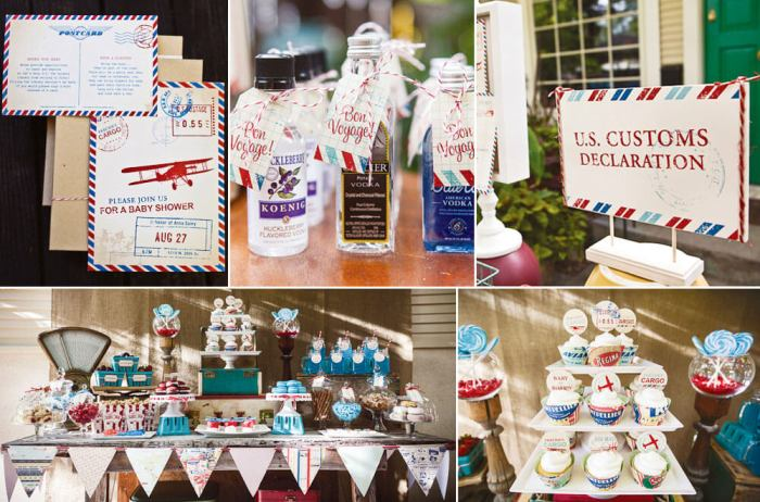 Vintage travel party themes are some of my favorite. This air mail printable set allows you to go through customs in style. Small World gets big with cultural party themes | Halfpint Design