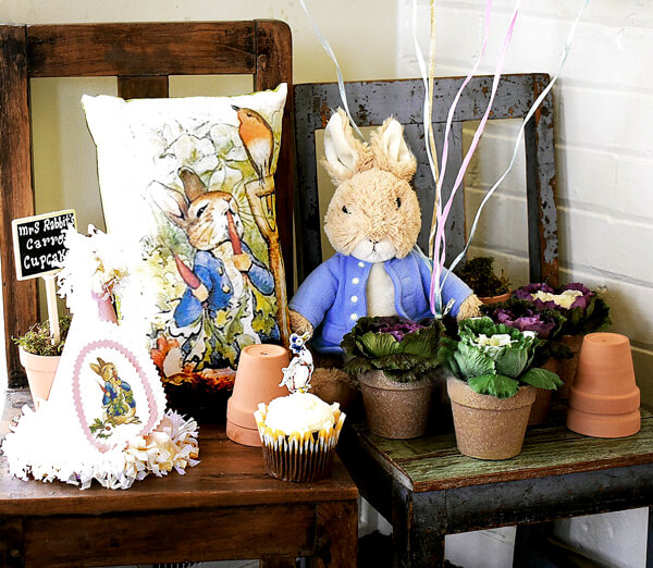Peter Rabbit in Mr. McGregor's Garden First Birthday Party   Halfpint Design - Beautiful decor for the party!
