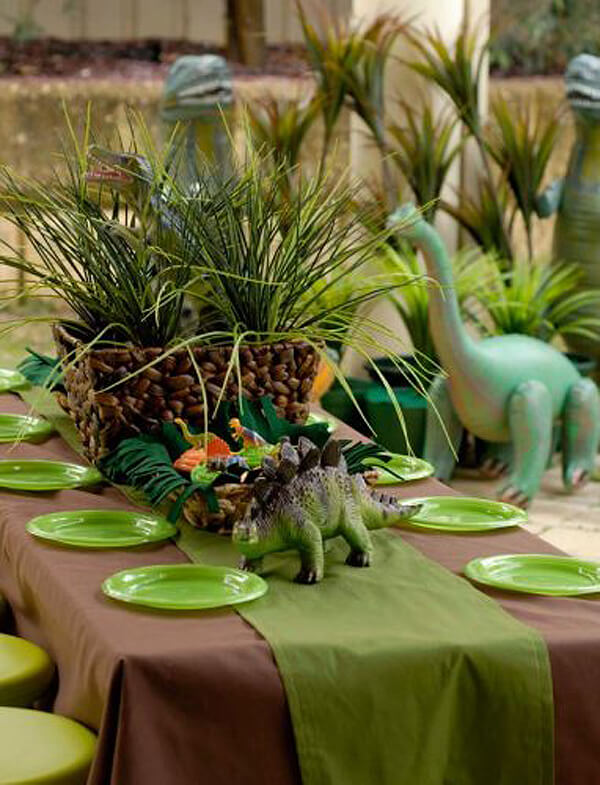 Dinosaur party. Greenery Inspired Parties   Halfpint Design - I love all the potted ferns. They really set the stage for a prehistoric party