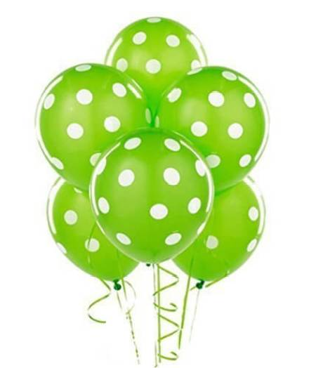 Green party supplies | Halfpint Design - These polka dot balloons make a great St. Patrick's Day party or a fun addition to a Dinosaur party, Princess and the Frog party, reptile party, etc.
