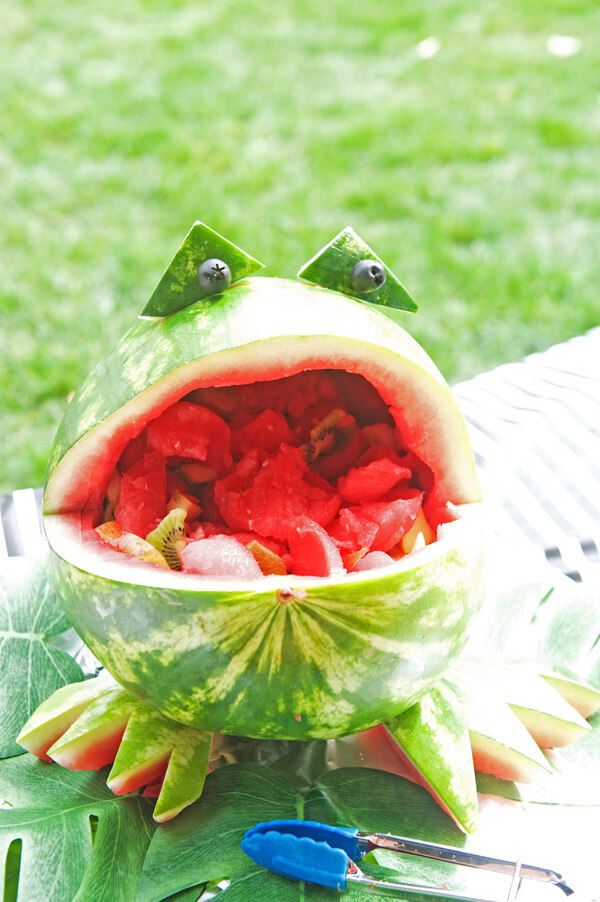 Frog party. Greenery Inspired Parties   Halfpint Design - This watermelon frog bowl was such a cute addition to the food table for a Jungle party, Frog party.