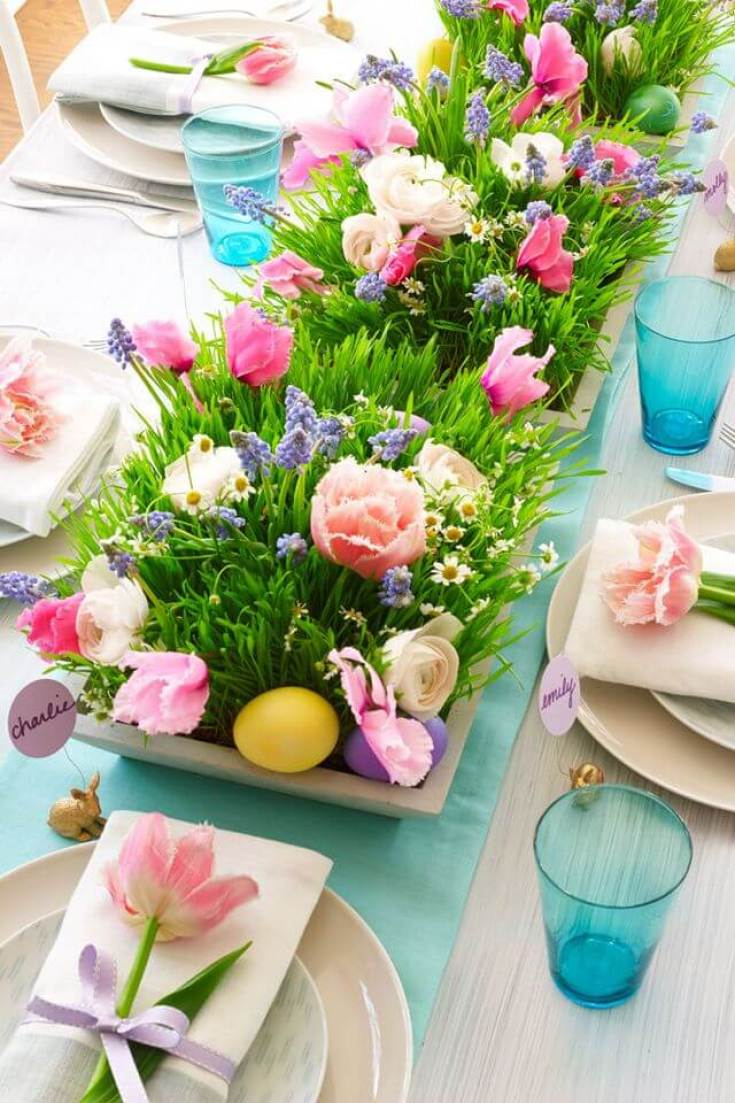 Springtime Party Color Palettes | Halfpint Design - This bright centerpiece doesn't feel overwhelming by using neutrals for the rest of the tablescape