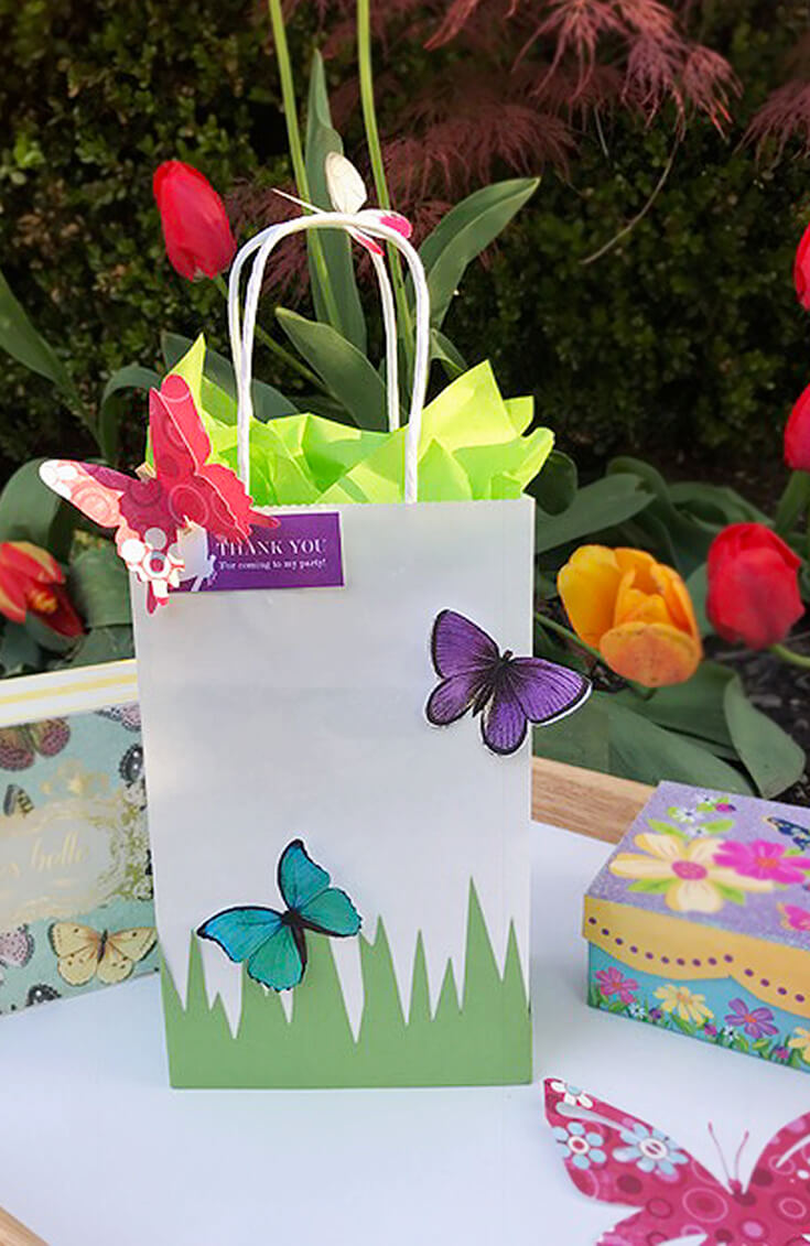 DIY Butterfly Party Favor   Halfpint Design - Cute little favor bag, use a small craft bag filled with treats, or this larger bag as a party loot bag or a gift bag for the birthday girl