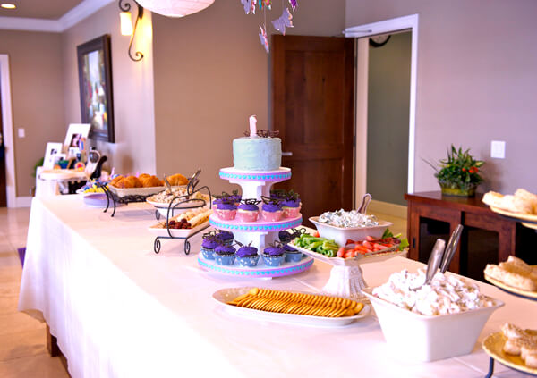 "Butterfly First Birthday Party | Halfpint Design - Our buffet table. Fun ""springtime"" menu to fight the cold."