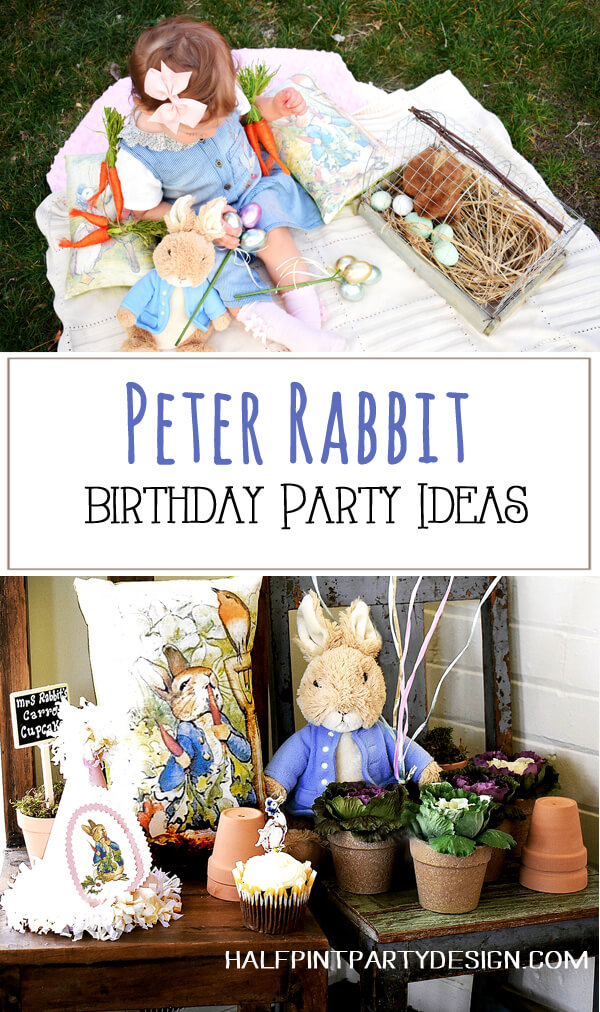 Baby girl Peter Rabbit in Mr. McGregor's Garden First birthday party. Stuffed Peter Rabbit, Peter Rabbit pillow, potted cabbages, and other spring garden decor. Halfpint Design. Great for Easter Decor, Peter Rabbit Book Party, garden party, Peter Rabbit birthday party ideas.