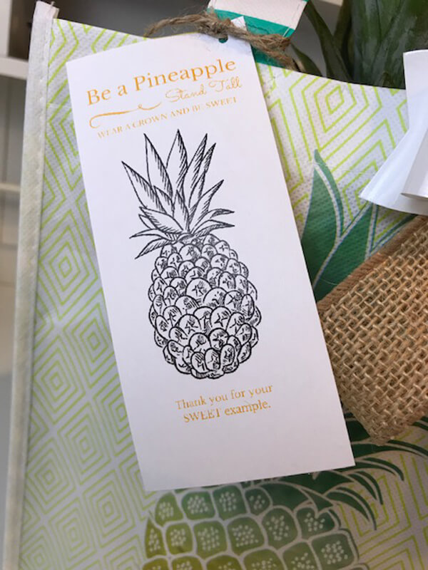Tropical End of Year Teacher Gift Idea | Halfpint Design - This little tag is the perfect finishing touch: Be a pineapple. Stand Tall, wear a crown, and be sweet. For all those who have been a sweet example to your child. Works well for a teacher, coach, or instructor gift.