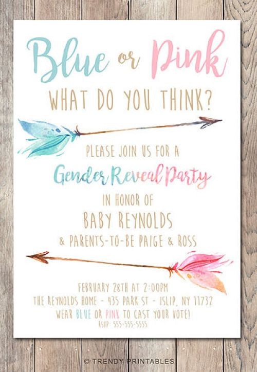 Classy Gender Reveal Party Ideas | Halfpint Design - Blue or Pink, What do you think? Gender reveal party invitation