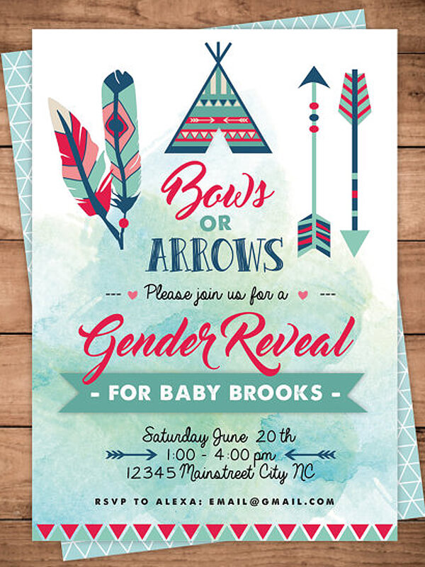 humorous gender reveal party ideas halfpint design bows or arrows gender reveal invitation