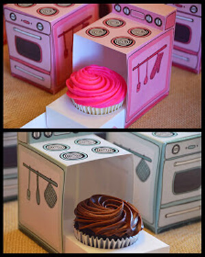 Humorous Gender Reveal Party Ideas | Halfpint Design - Bun in the oven, what's cooking a cute little cupcake or handsome studmuffin? Darling little oven boxes for a take home cupcake or muffin.