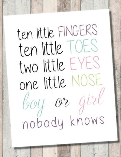 "Classy Gender Reveal Party Ideas | Halfpint Design - ""Ten little fingers, ten little toes, two little eyes, one little nose. Boy or girl, nobody knows. Cute and simple gender reveal party invitation wording or just a great welcome sign for guests."