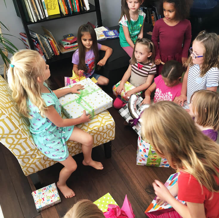 6th Birthday Book Party   Halfpint Design - Gift opening